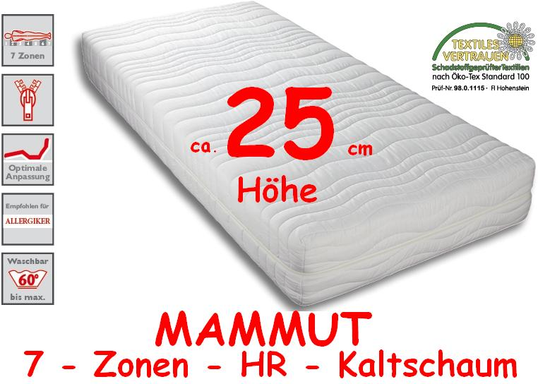 25 cm mammut exklusiv wellness 7 zonen kaltschaum matratze wahlbar ebay. Black Bedroom Furniture Sets. Home Design Ideas
