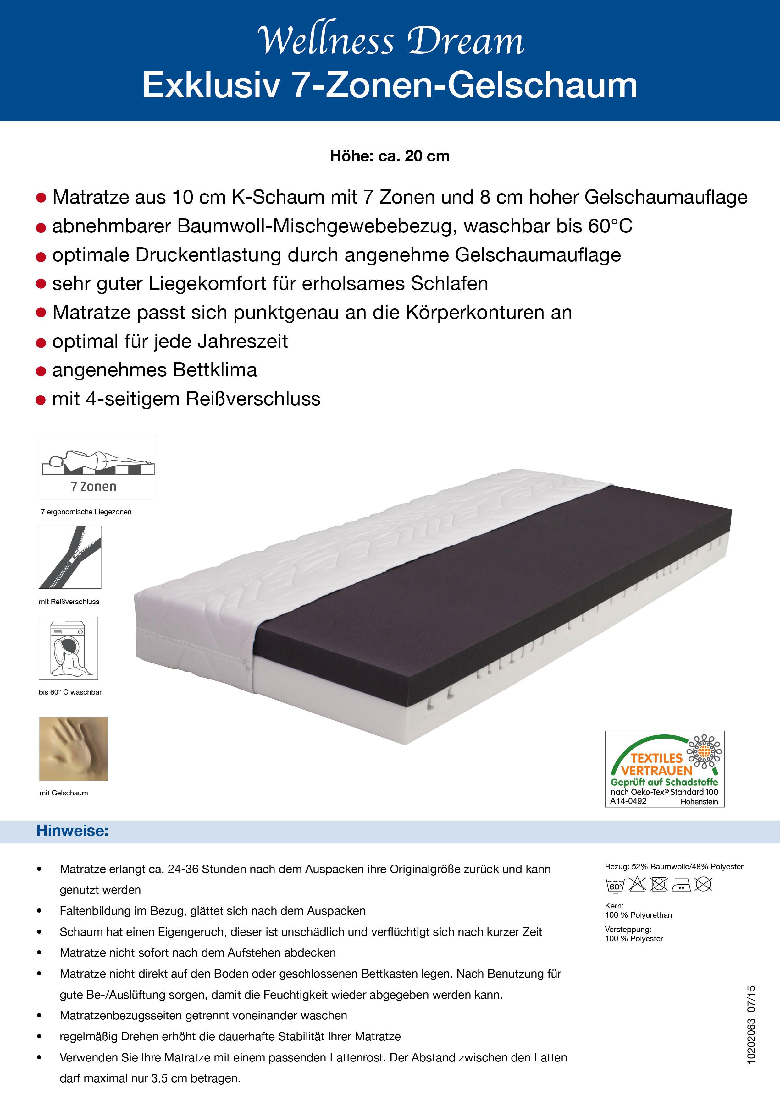 20 cm 7 zonen gelschaum matratze wellness dream alle gr en w hlbar ebay. Black Bedroom Furniture Sets. Home Design Ideas